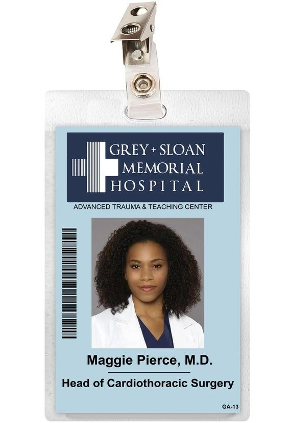 Maggie Pierce Laminate ID Badge.More Grey's Anatomy badges Available in my Etsy store.Measurements: approx 2.75 inches x 4.5 inches Clip included.-Ships Worldwide.  Rates Vary.-Expedited Domestic Service Also Available.Your satisfaction is guaranteed.(Returns accepted within 30 days of purchase.  Buyer responsible for return shipping.)