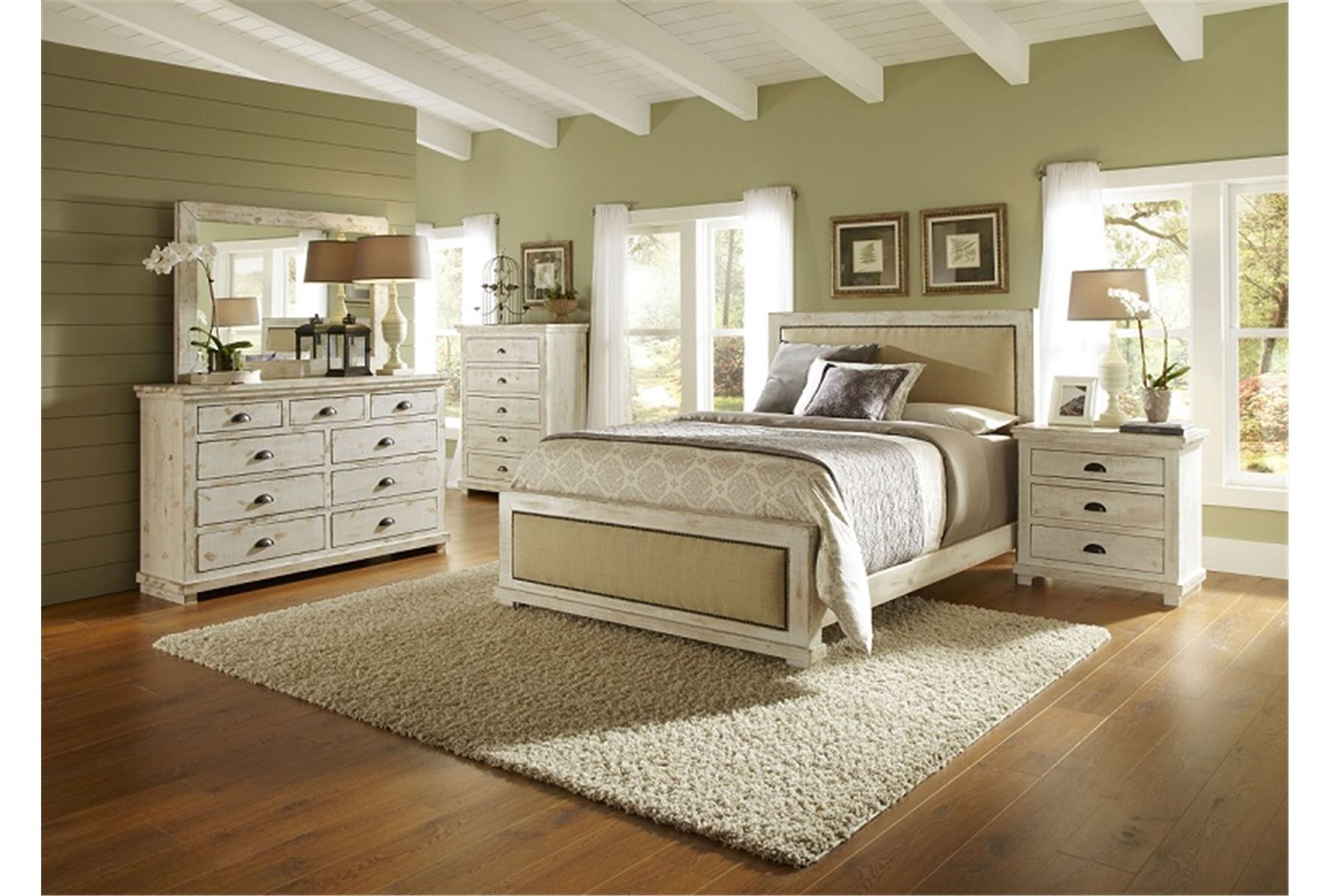 sinclair wht cal king panel bed | distressed white bedroom