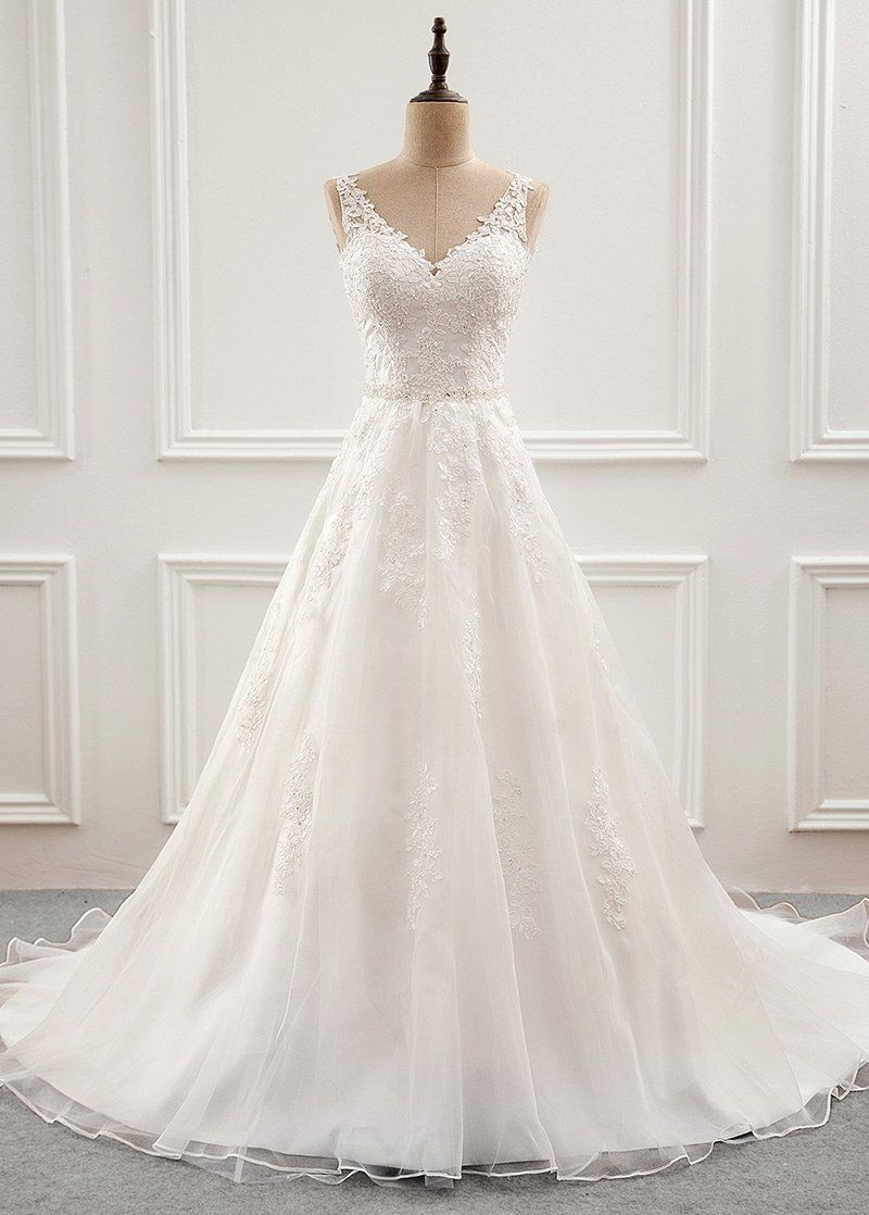 Photo of Wedding Dresses Simple, Fabulous Tulle & Organza V-neck Neckline A-Line Wedding Dress With Beaded