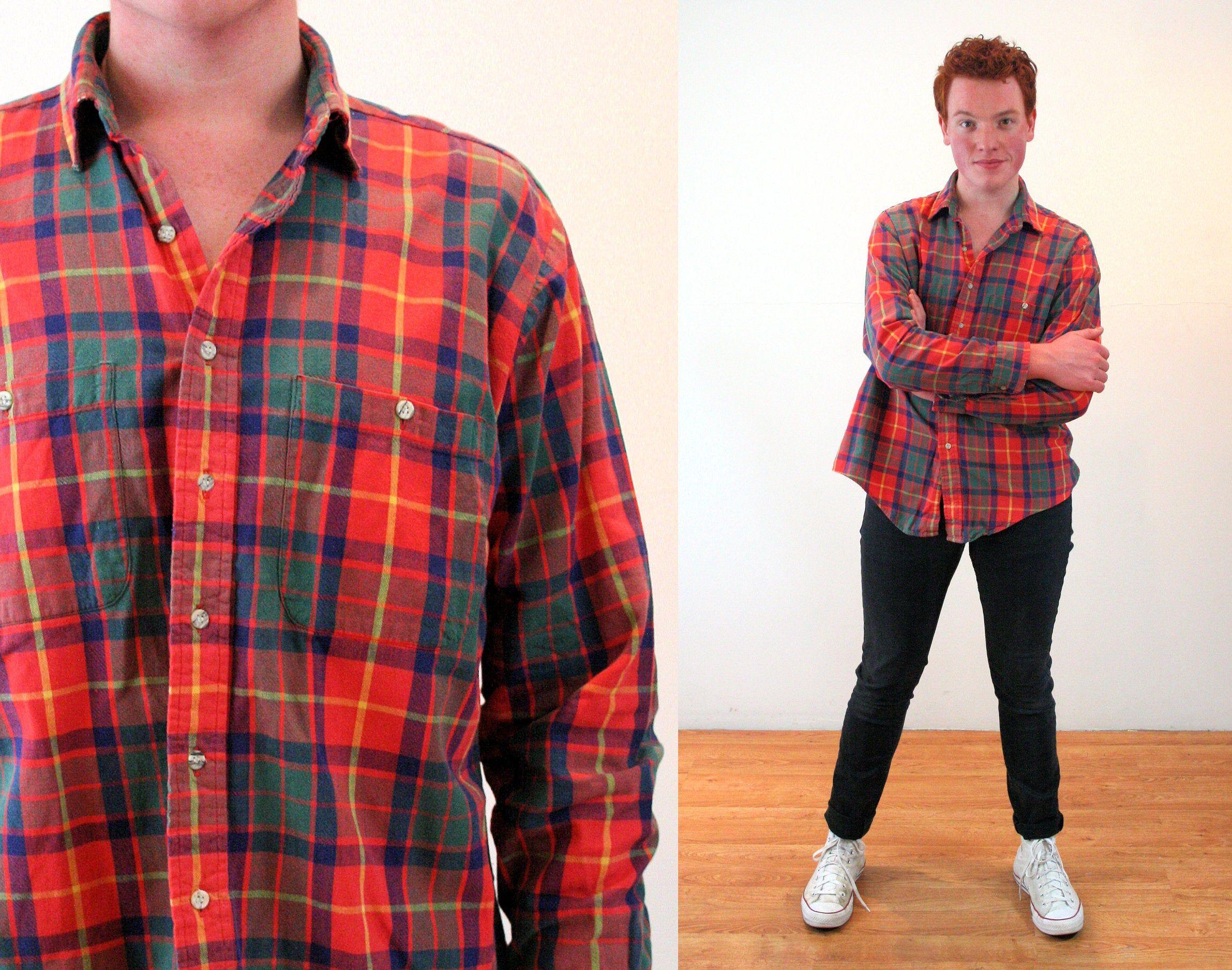 Maroon Hunter Green Dark Plaid Button Down Long Sleeve Shirt Lightweight Cotton Summer Plaid 80s Vintage Plaid Shirt