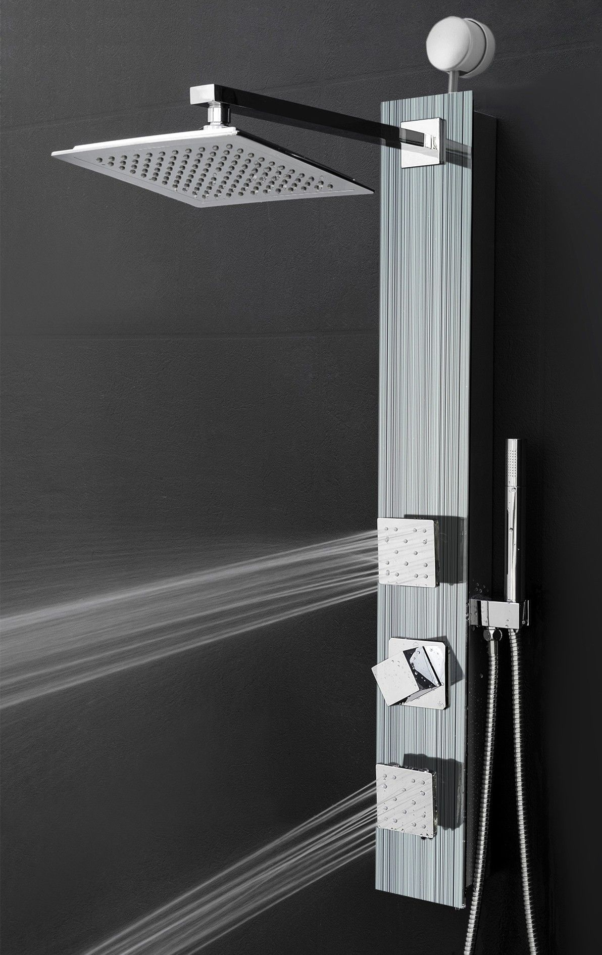 Easy Connect Shower Panel System In Silver Tempered Glass With Rainfall Shower  Head And Shower Wand   Shower Panels   Other Products