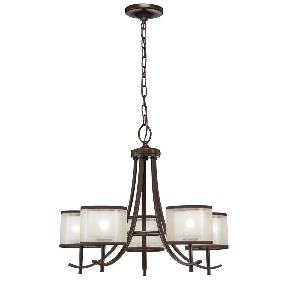 Hampton Bay 5 Light Bronze Organza Shade Ceiling Chandelier 89547 At The Home Depot
