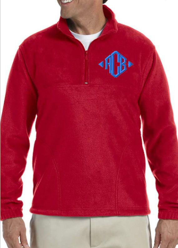 Mens Pullover Fleece Jacket with Embroidered Monogram