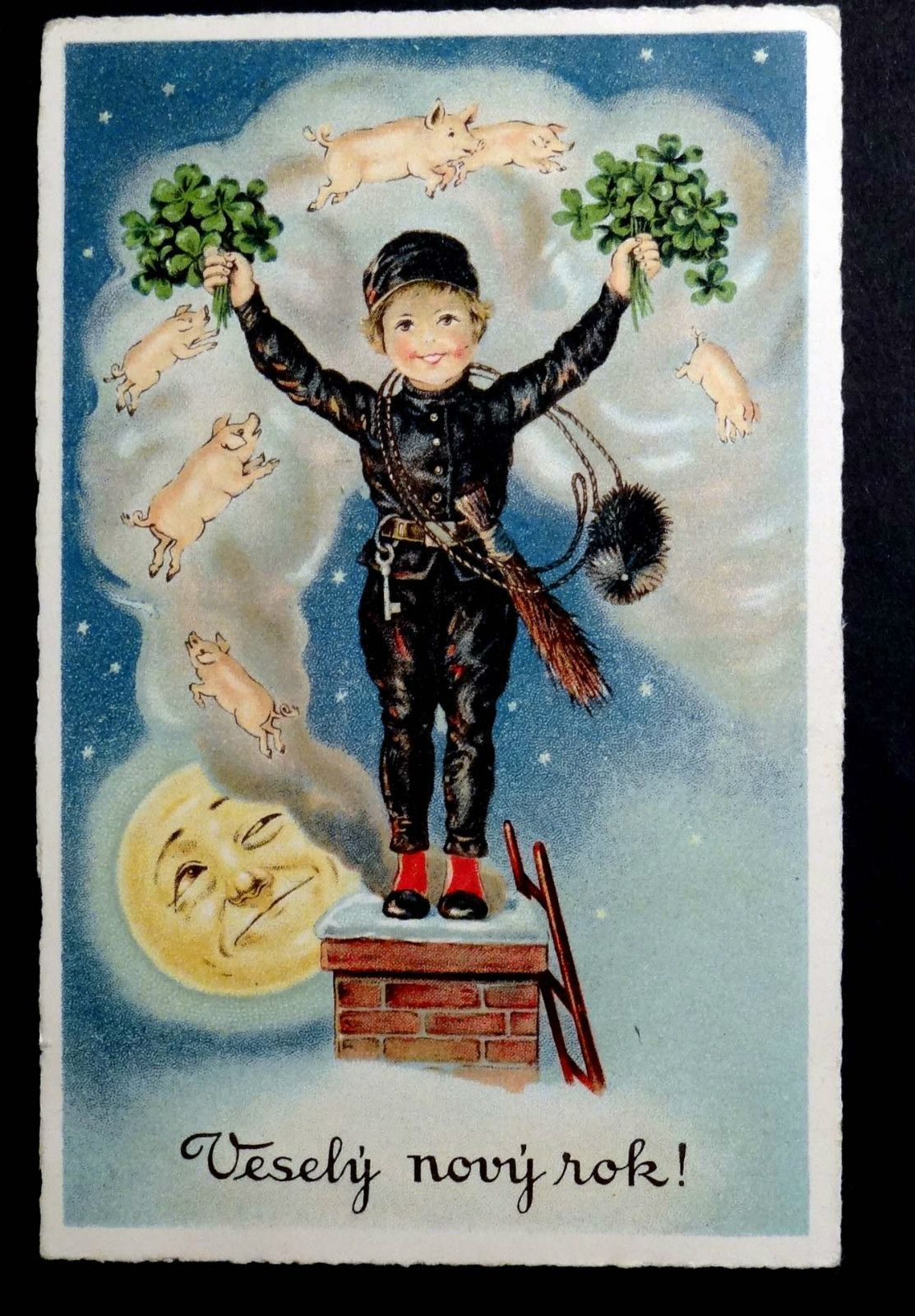 New Year Postcard 1935 CHIMNEY SWEEP Pigs in Smoke MAN IN THE MOON ...