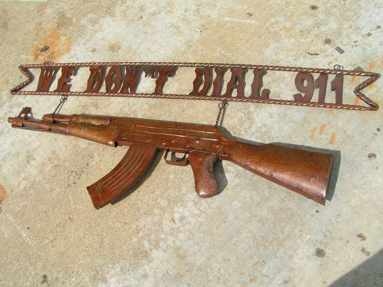 "Hanging Wall Gate Entry Sign WE DON'T DIAL 911 AK 47 Rifle 45"" bz"