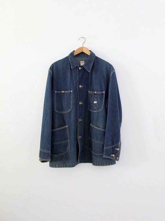 Vintage 50s Lee Barn Coat Men S Denim Work Jacket Etsy Barn Coat Lee Denim Work Jackets