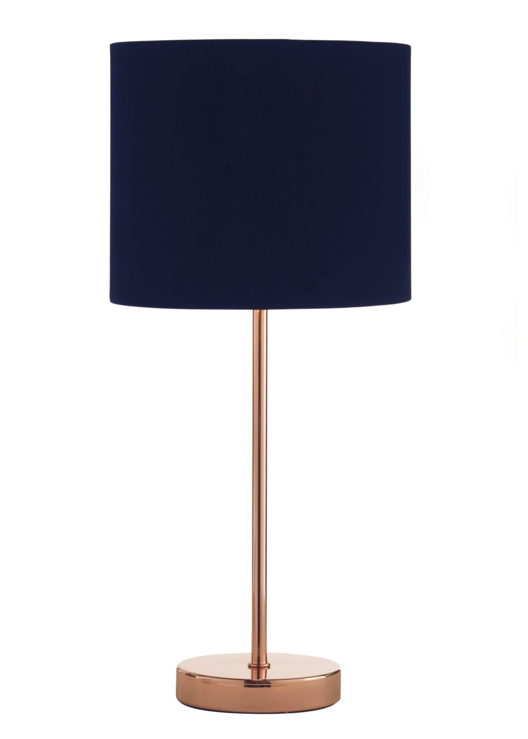 Ada Velvet Table Lamp (H41cm x W18cm) – Navy | Navy lamp