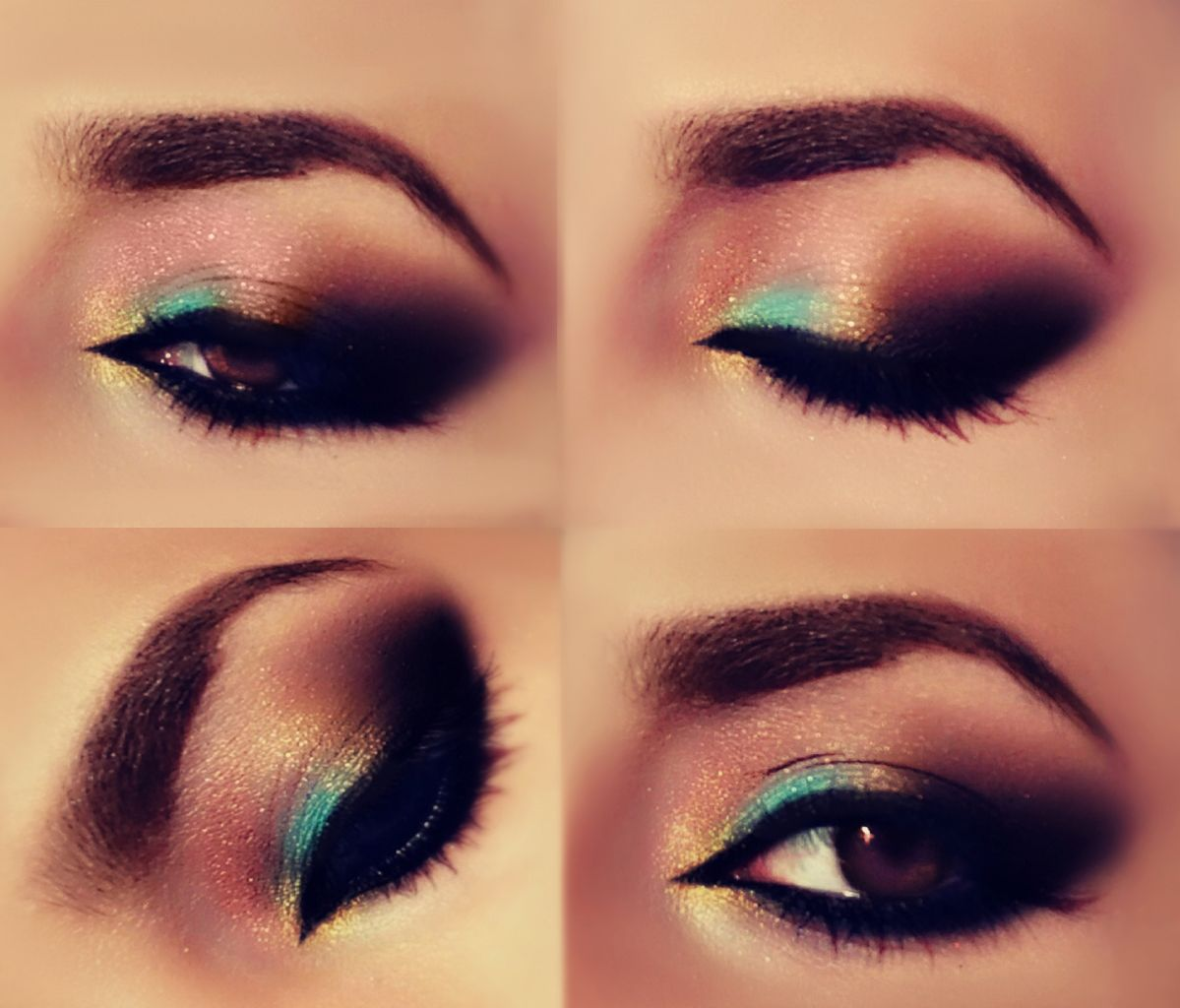 Pop of color!  Teal Arabic Makeup
