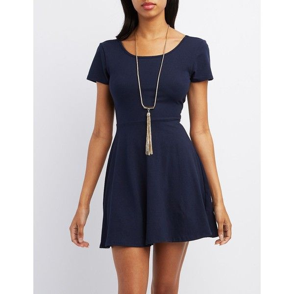 Charlotte Russe Scoop Neck Skater Dress ($20) ❤ liked on Polyvore featuring dresses, navy, blue dress, cocktail dresses, blue cocktail dress, blue skater dress and skater dress