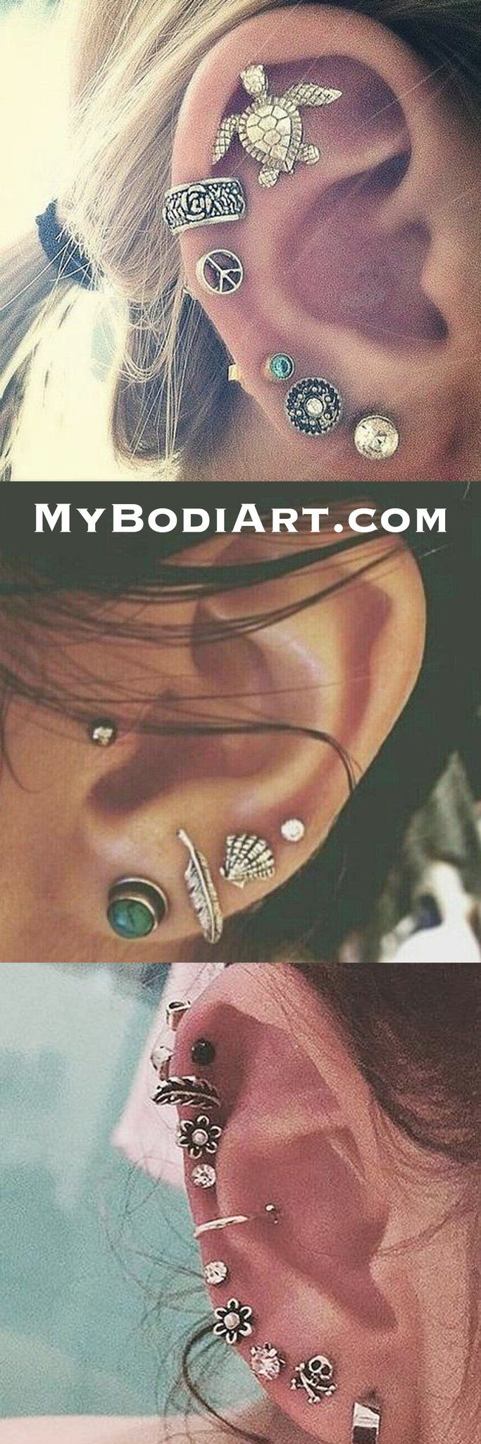 Pretty Mutiple Ear Piercing Ideas Combinations at MyBodiArt.com - Anitqued Tribal Oor Piercing Turtle Cartilage Stud - Feather Earring - Flower Auricle Jewelry