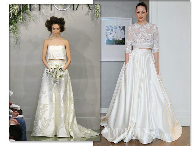 Vestidos com top cropped das marcas Theia e Alyne    Crédito: Reprodução/ Getty Images