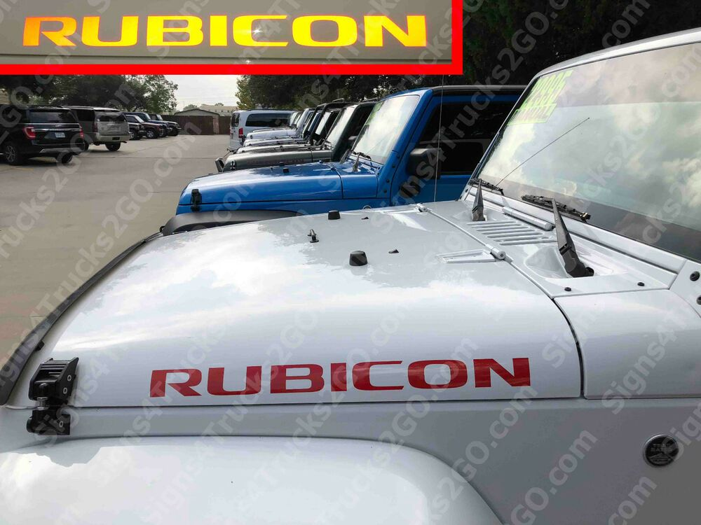 0603 2pcs Rubicon Hood Decal Vinyl Graphic Jeep Wrangler Red