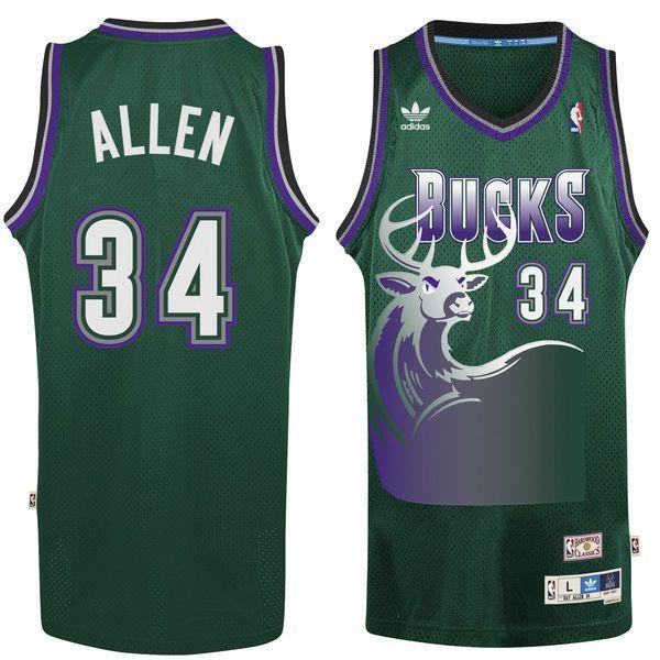 low priced fc62e 5efd6 Men's Milwaukee Bucks Ray Allen 1996-1997 adidas Hunter ...