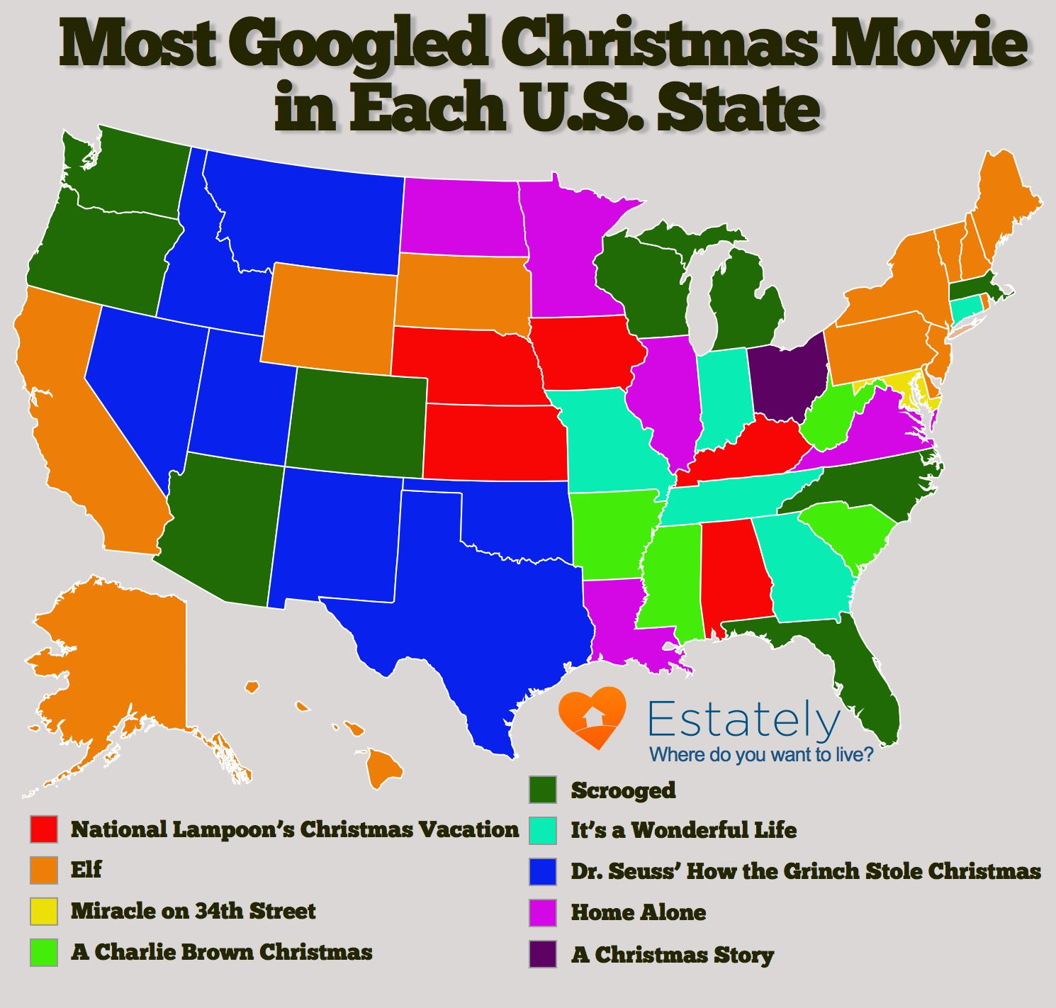 U.S. States Most Enthused About Christmas Movies | Fun State Maps ...
