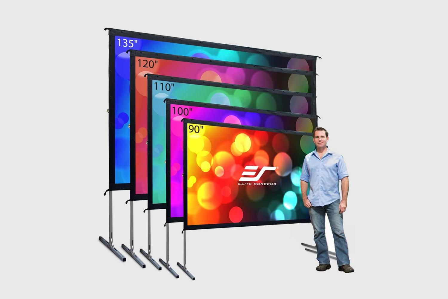 Amazon Com Elite Screens Yard Master 2 Series Foldable Frame Outdoor Front Projec Outdoor Projector Screen Diy Outdoor Projection Screen Projector Screen Diy