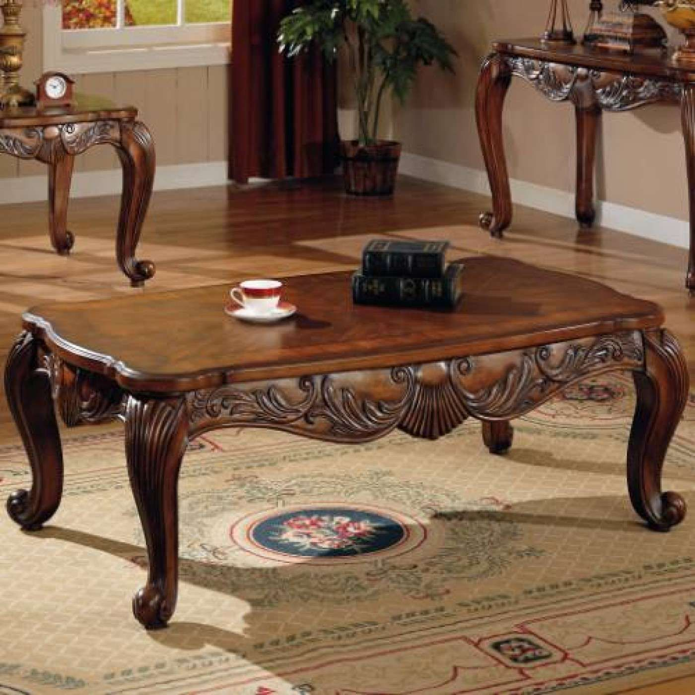 Best Venice Deep Brown Traditional Rectangular Coffee Table 400 x 300