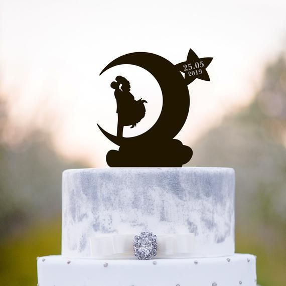 Moon cake topper,mr and mrs wedding cake topper,Moon wedding cake topper,moon and stars wedding cake topper,kissing cake topper,a215 #mooncake