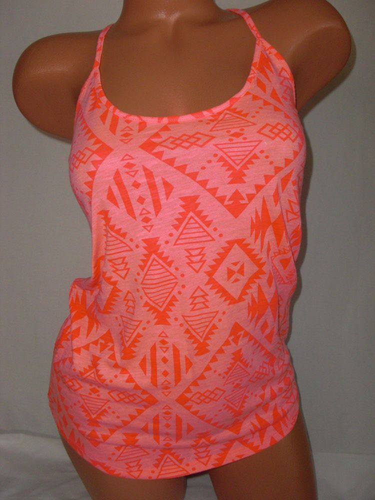 New Victoria's Secret Tank Neon Pink Coral Aztec Racer Back Cami Cotton Poly  #PINKbyVictoriasSecret #TankCami #Casual