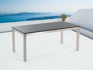 Table de jardin acier inox - plateau granit simple 180 cm ...