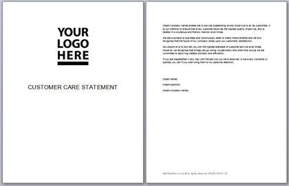 Customer Care Statement Template  Business Documents
