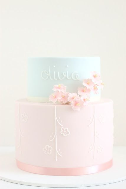 hello naomi: cherry blossom christening cake!