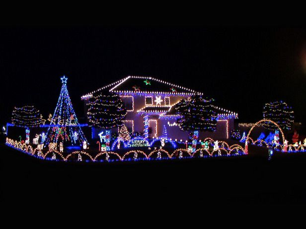 Our Favorite Christmas Light Displays From Rate My Space Christmas House Lights Blue Christmas Lights Christmas Lights Outside