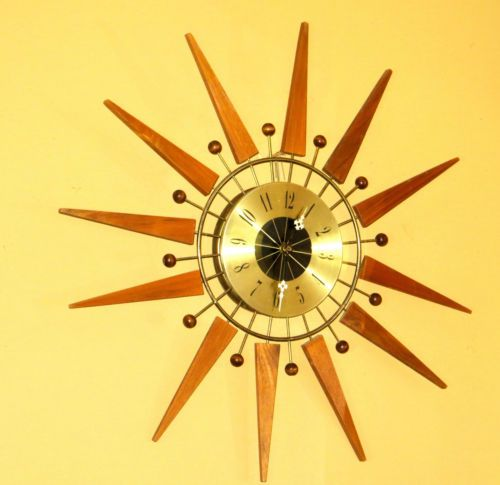 Vintage-ATOMIC-STARBURST-EAMES-ERA-Wall-Clock-MID-CENTURY-MODERN-Sunburst-OFFER