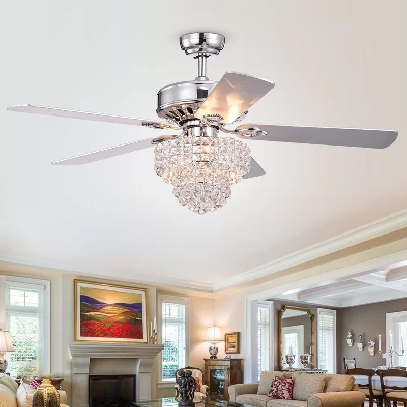52 Scheid 5 Blade Outdoor Crystal Ceiling Fan With Remote