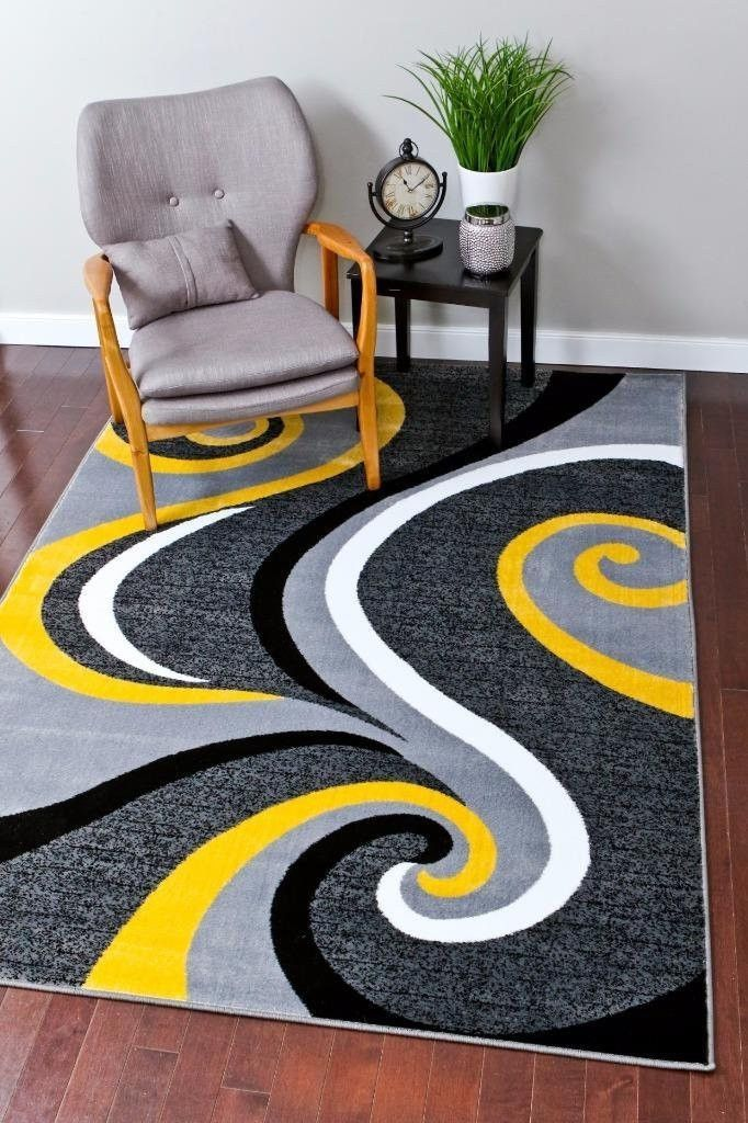 2984 Yellow Abstract Contemporary Area Rugs | Rugs ...