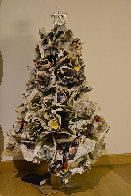 Newspaper Christmas Tree Recycled Christmas Tree Unusual Christmas Trees Christmas Tree Themes