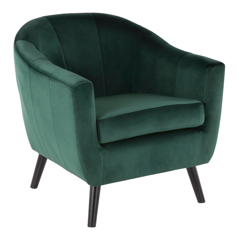Green Velvet Contemporary Accent Chair Rockwell In 2020 Velvet