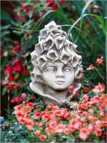 Blumenkind Aus Stein Blutenkopf Blumenkopf Steinguss Blumenkinder Blumen Gartenfiguren