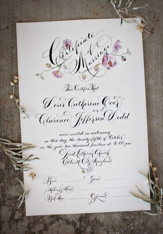 Marriage Certificate, Wedding Certificate, Custom Calligraphy - sample marriage certificate