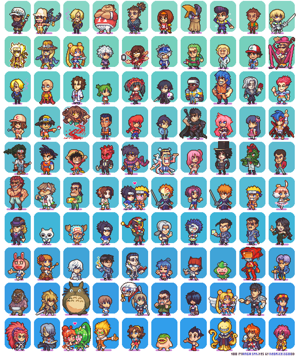 100 Manga and Anime Sprites by Neoriceisgood.deviantart.com on ...