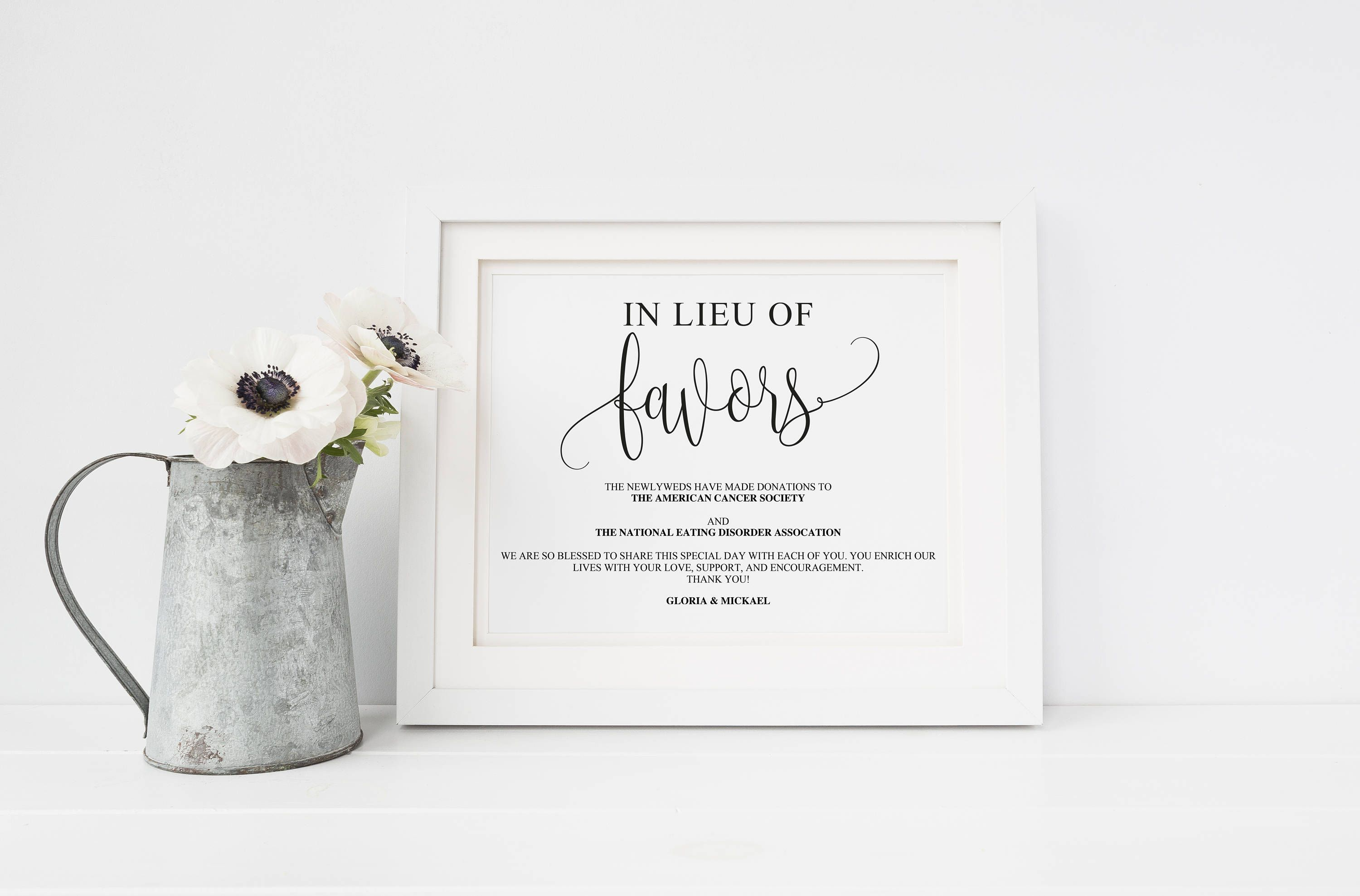 Wedding Donation Sign | Printable Wedding Sign | Personalized Favor ...