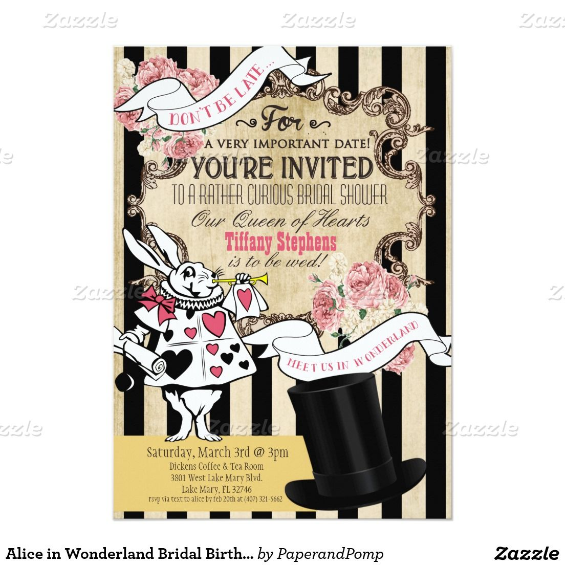 Alice in wonderland bridal birthday invitation 5x7 stopboris Image collections