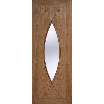 Milan 1 Light Oak Door With Clear Safety Glass Is Fully Prefinished Light Oak Internal Glass Doors Oak Doors