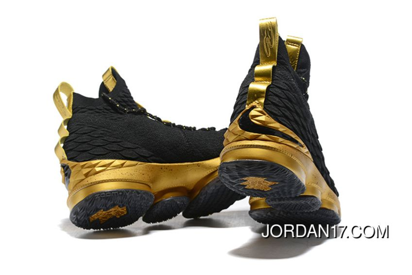 599dc8bef7022a LeBron James Nike LeBron 15 Mens Basketball Shoes Black Gold NBA Finals  Game 4 Copuon