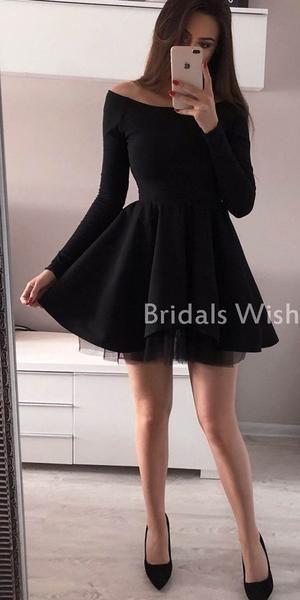 Pretty Black Long Sleeves Bateau Neck Short Homecoming Dress EW0110 Pretty Black Long Sleeves Bateau Neck Short Homecoming Dress EW0110