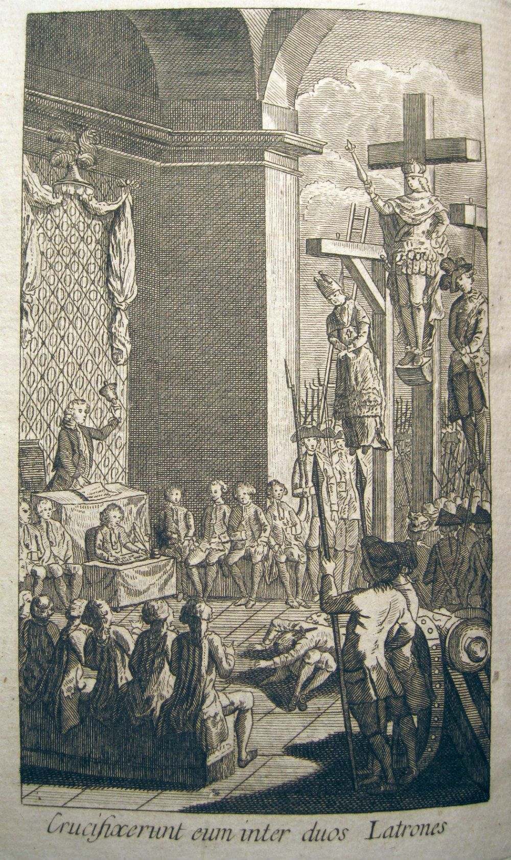 This disturbing pamphlet shows the King Louis XVI being crucified between the clergy and the nobility