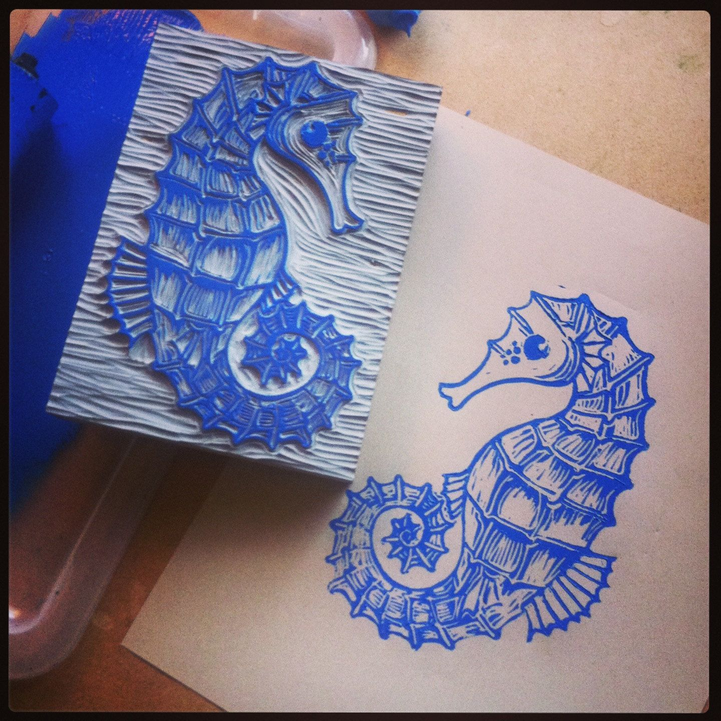 Seahorse linocut framed and mounted art print