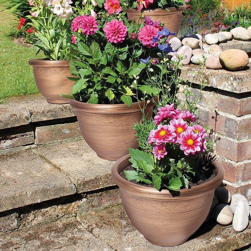 Set Of 4 Bronze Effect Grapevine Design Round Garden Patio Flower Planters  | Baskets, Pots U0026 Window Boxes | Plant Care, Soil U0026 Accessories