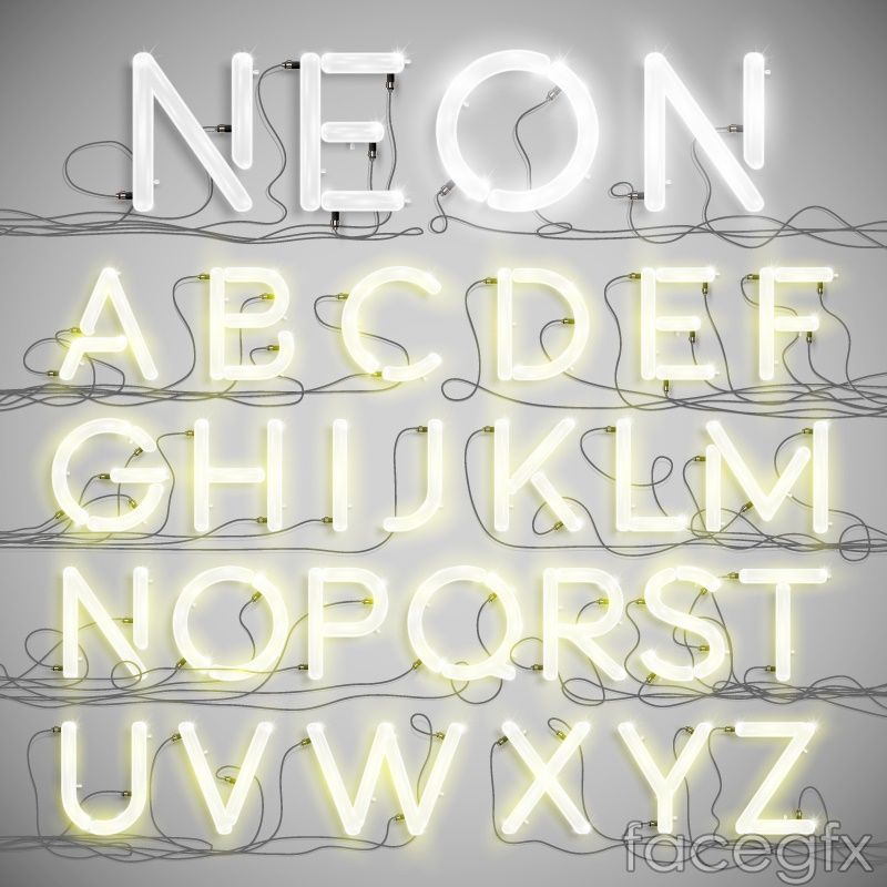 white neon letters design vector for Free Download (With