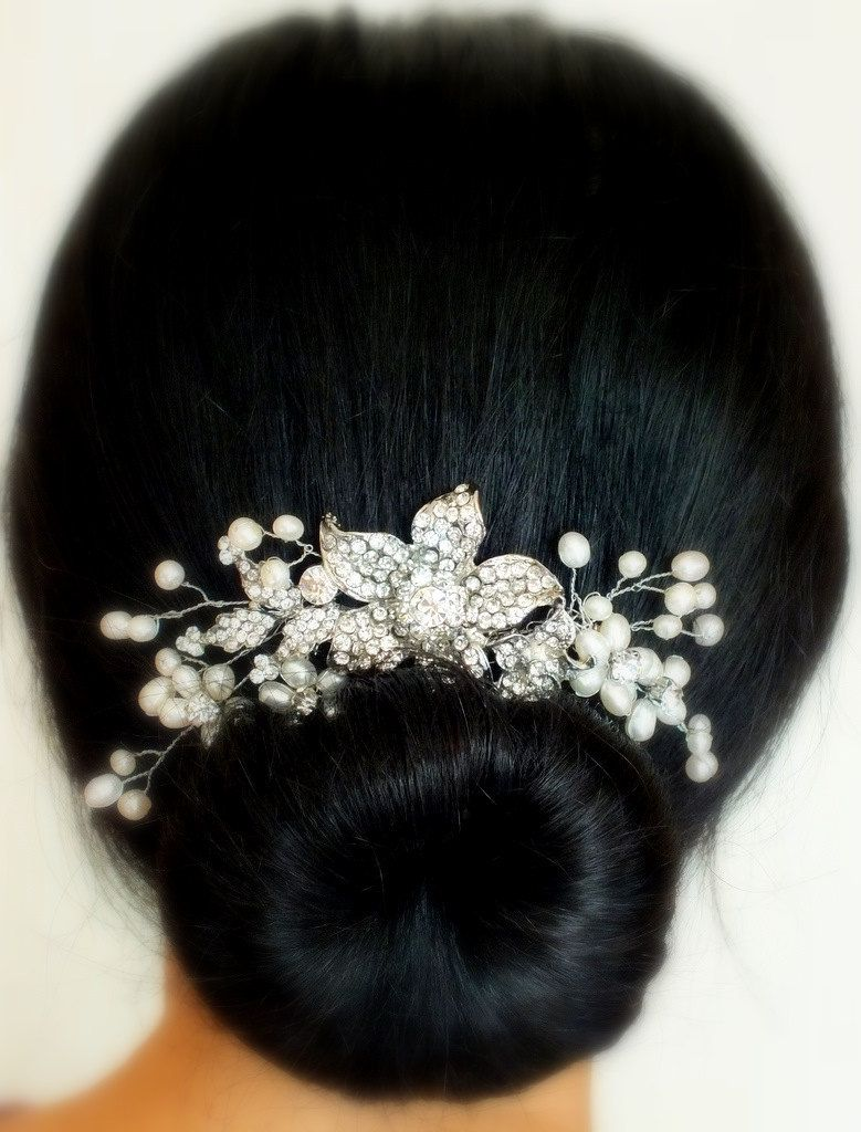 casablanca - freshwater pearl and rhinestone bridal hair comb