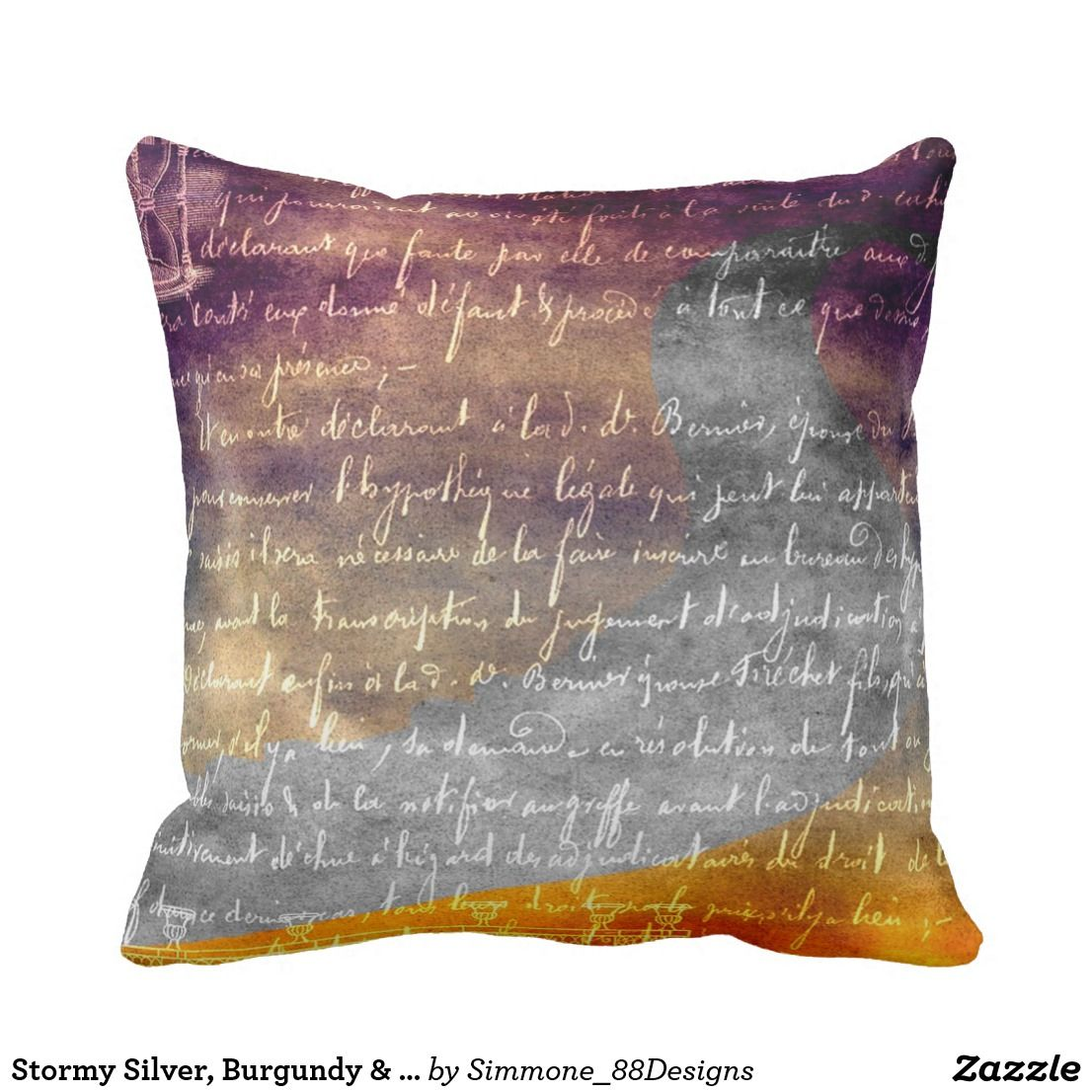 Stormy Silver Burgundy Gold Throw Pillow