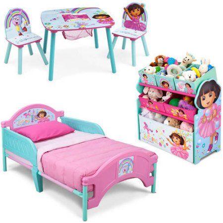 nick jr. dora the explorer bedroom set with bonus toy organizer
