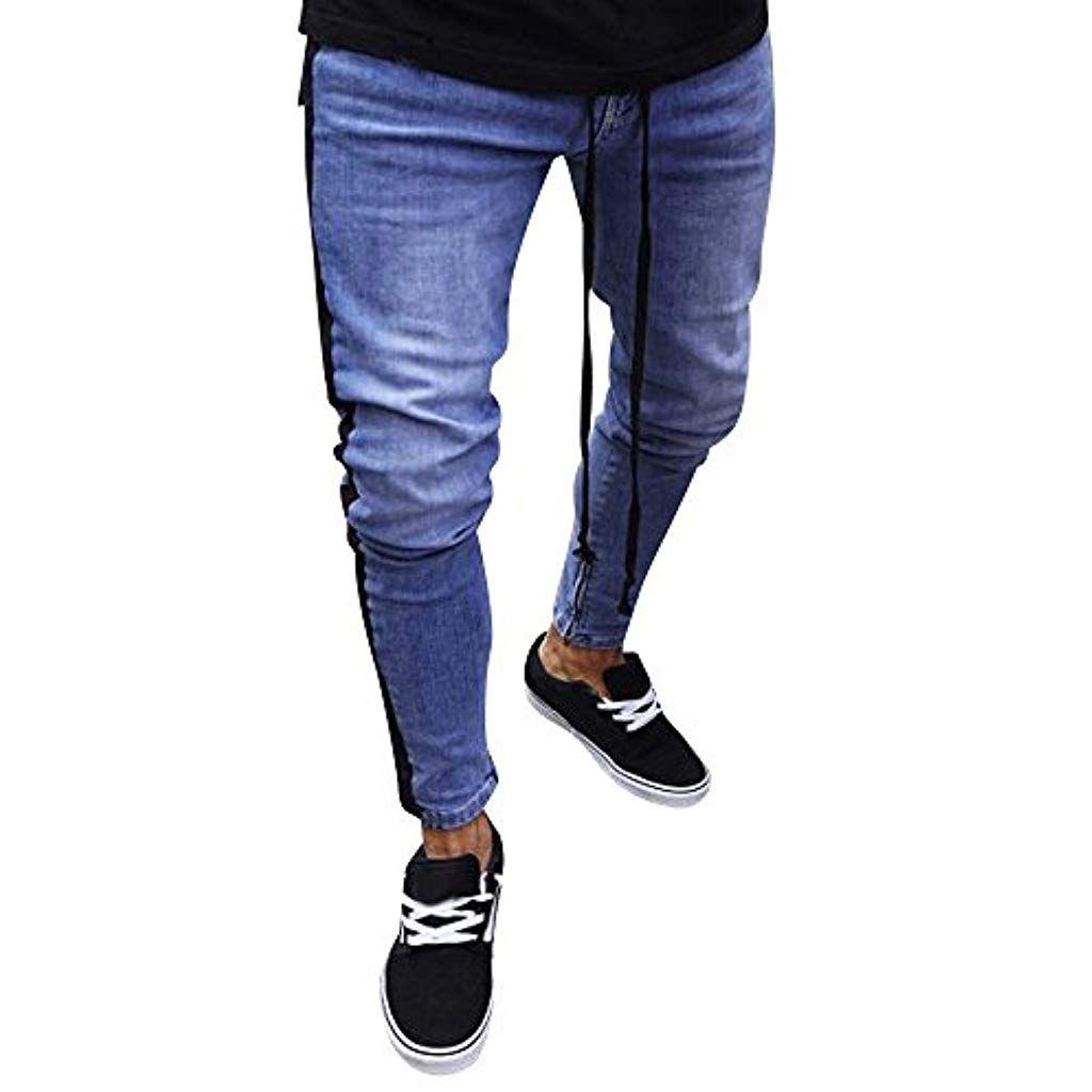 c67294718 Sunenjoy Vêtements Jeans Homme Déchiré Styles Fermeture Eclair Trou ...