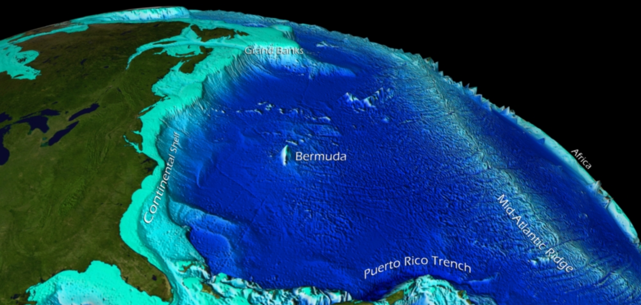 Ocean Floor Features Graphic Depicting Satellite Captured Bathymetric Data Of The Western Atlantic Ocean Basin An Educational Resources Ocean Science Ocean