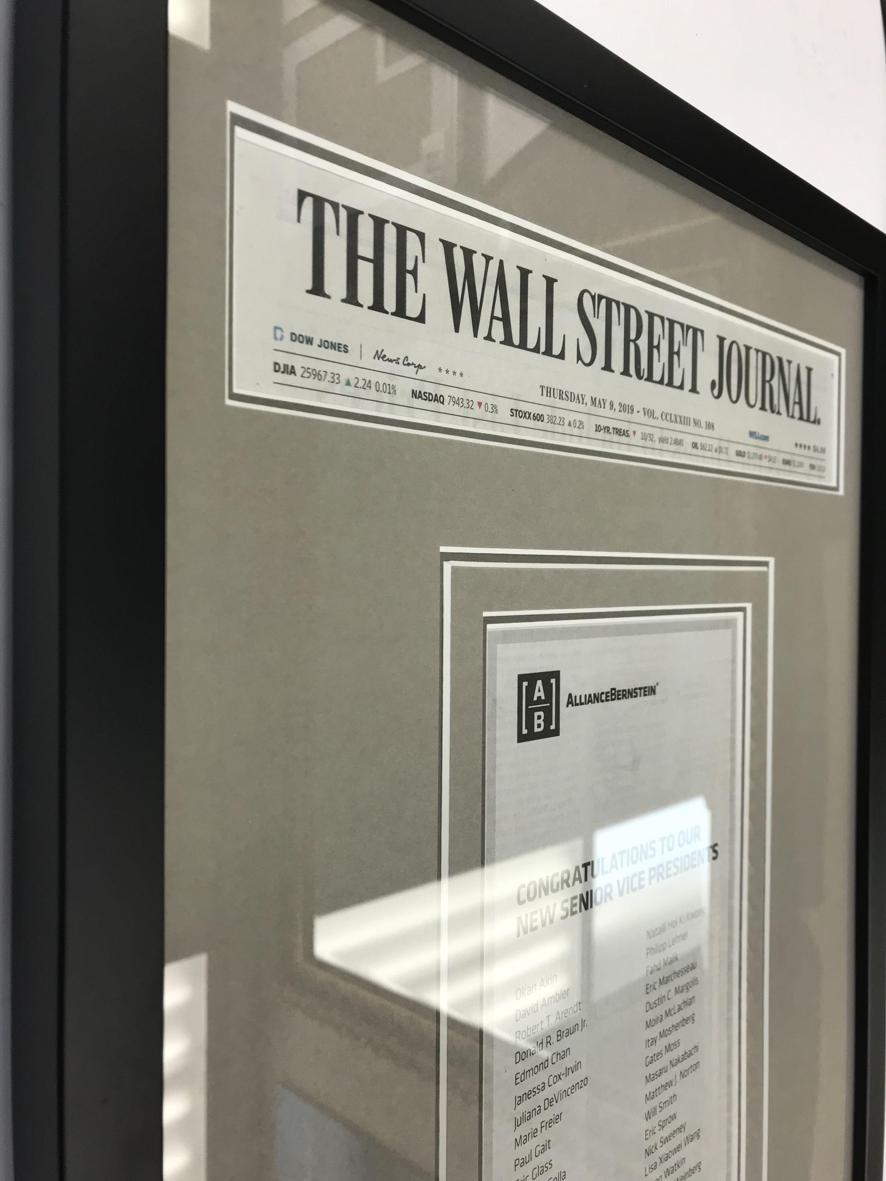 wall street journal newspaper article shadowbox custom on wallstreetjournal id=92193