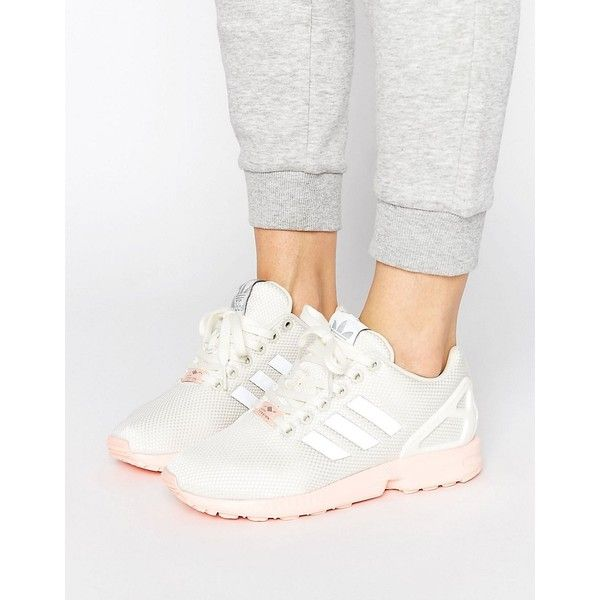 80004c904cf adidas Originals White ZX Flux Sneakers With Pink Sole ($91) ❤ liked on  Polyvore